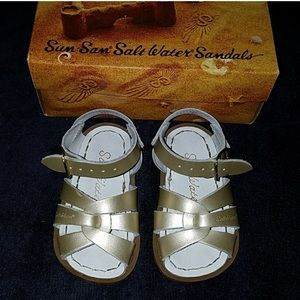 Gold Saltwater Sandals for toddler girl